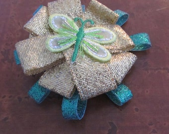 Green Dragonfly patch loopy hairbow
