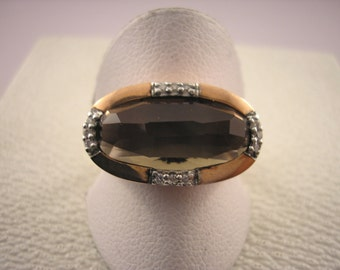 9ct Rose Gold Ring with Smoky Quartz