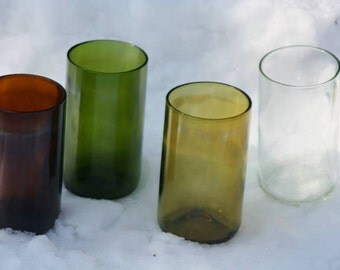 16 oz Wine Bottle Drinking Glasses Tumblers - Up-cycled from Used Wine Bottles