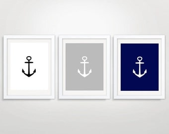Anchor Triptych, Printable Art, Anchor Wall Art,  Nursery Art, Set of three, Nautical Print, Nautical Art