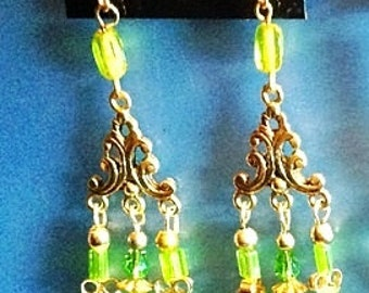Green glass beaded chandelier dangle earrings