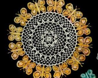 The Butterfly Crochet Doily Pattern  Vintage Doily Pattern Vintage Crochet  Instant Download PDF