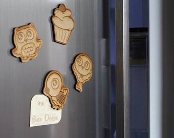 Animal fridge magnets - wooden bird fridge magnet - cupcake magnet