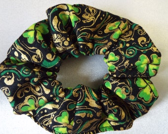Gold, black and green shamrocks St. Patrick's day hair scrunchie