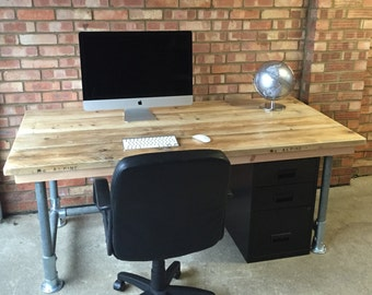 Scaffold plank urban industrial office desk and drawers 6x3
