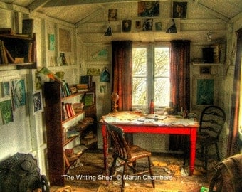 "Dylan Thomas ""The Writing Shed"" Signed Limited Edition Mounted Print"