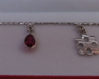 Sterling Silver Bracelet with Red Stones
