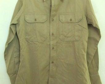 Marked Down 30%@@A Vintage 50s,Long Sleeve Tan Khaki MILITARY Shirt.M