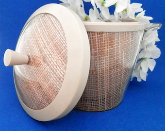 Mid-Century Modern, Retro Ice Bucket. Rattan Tropical Vibe, Perfect for that Hawaiian Tiki Themed Bar or Party!
