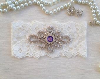 wedding garter, ivory lace bridal garter, lavender rhinestone