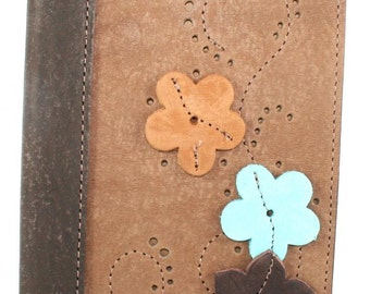 "Leather Flower Journal / Leather Flower Notebook / Leather Flower Diary with Raised Full Grain Saddlery Leather Flowers, 5"" X 7"" Size"
