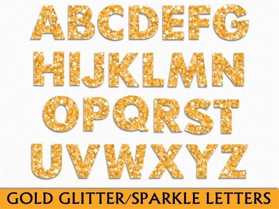 gold gitter sparkle alphabet clip art graphic letters