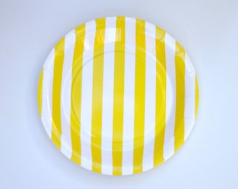 Round Plates Yellow Striped Pack of 12 Party Decor Paper Goods