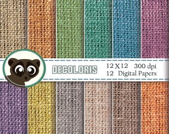 Burlap textured printable paper for instant download. Colorful burlap digital paper for scrapbooking, greeting cards, backdrop and crafts