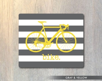 Bicycle and Stripes Mouse Pad - Bike Computer or Office Work Station Decor