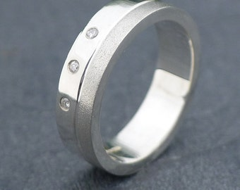 Men's Diamond Silver Ring - Handmade to Size