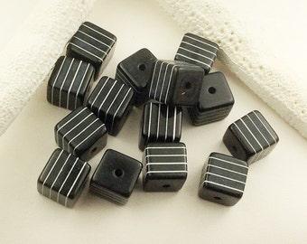 Acrylic laminated cube beads,10-Black cube with white stripes, 10x10 black square acrylic beads, unique black /white beads, L100, Ships USA