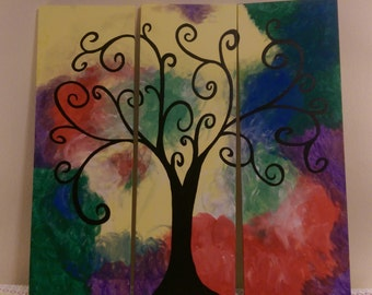 3 canvas silhoutte tree acrylic painting