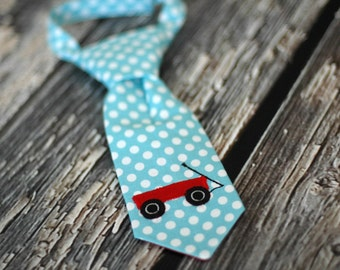 Little Guy Tie - Little Red Wagon Little Guy Tie in Aqua White Dots with Red - Radio Flyer Wagon Boys Infant Toddler Tie