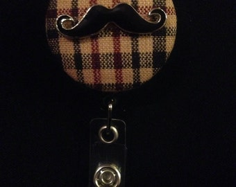 Vaudeville Mustache -Nurse Retractable ID Badge Reel/ RN Badge Holder/Doctor Badge Reel/Nurse Badge Holder/Student Nurse badge reel/ nursing