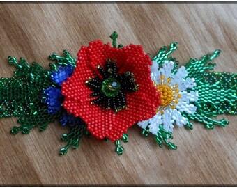 Red flower bracelet Handmade bracelet Ukrainian bracelet Bracelet with poppies Boho jewelry Gift for her Bead bracelet Girlfriend gift