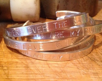 Personalsied Bangle / Cuff - Sterling Silver