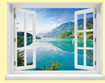 Window with a View Lake and Mountains Wall Mural