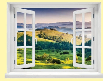 Window with a View Valley Wall Mural