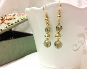 Gold and Taupe Drop Earrings