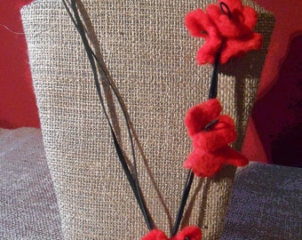 Hand felted flower necklace