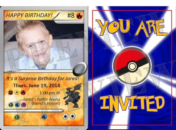 This Is A Pokemon Invitation 6x4 Inch Jpeg Downloadable File Let Me Know What The Details For Your Are Which Include Card Birthday