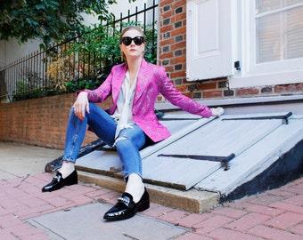 Pink Silver Geometric Print Blazer Jacket Size 6
