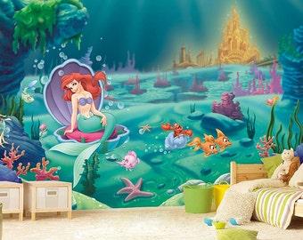 Little Mermaid Wall Mural, Ariel Wallpaper, Wall décor, Wall decal, Nursery and room décor, Wall art