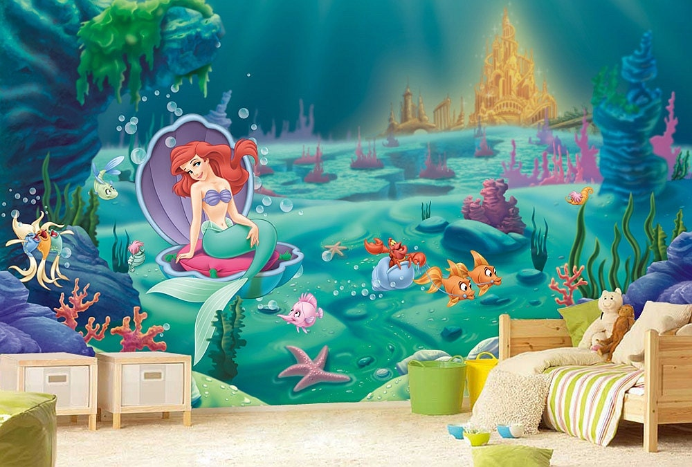 Little mermaid wall mural ariel wallpaper wall d cor wall for Disney ariel wall mural
