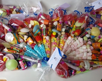 5 x  Personalised pre-filled sweet cones, party favours, birthday gifts, rewards, party bags, christenings and more