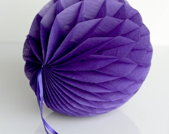 PURPLE Tissue paper honeycombs -  hanging decorations