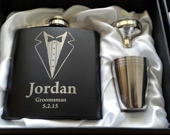 Wedding Flask - Personalised Engraving - Black Stainless Steel - Suits
