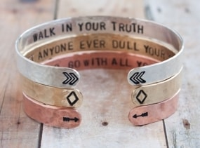 Cuff bracelet set, sterling silver, copper, brass cuff set, chevrons, diamonds, arrows, quote cuffs stacking cuffs inspirational quote, yoga