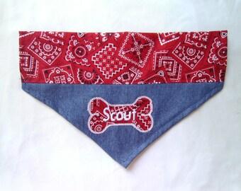Denim Bandana,  Dog Bandana Monogram,  Personalized,  Blue Jean,  Over the Collar Dog Scarf, Cowboy