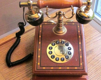 Vintage Hentak Rotary Dial French Style Wood Inlay Phone 1970 Era
