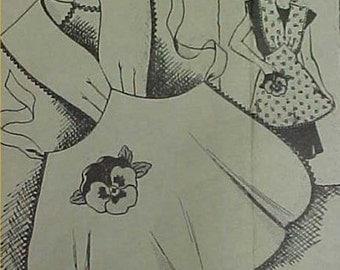 Vintage Bib Apron & Pansy Potholder Full Size Sewing Fabric Pattern 30s 1Yd APR 8028