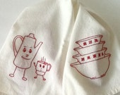 Red Work Dish towel,  Hand Embroidered Red Work Kitchen Towel, New two in One Dish Towel, Two Sided Redwork Towel