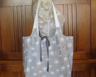 Woman's Reversible Tote Bag Large Handbag Purse Shoulder Straps Pockets - Gray Print