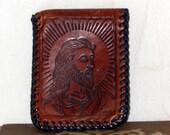 Jesus Wallet Hand Tooled 1960s Handmade Billfold