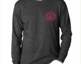 2 Monogrammed Long Sleeve TShirts (Embroidered) Personalized, Sorority, Cheer Team, Bridesmaid Gift, Bridal Party, T shirt, Long Sleeve Tee