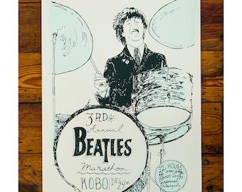 3rd Annual Beatles Marathon Screenprinted Poster
