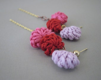 Mixed Metal Chain Earrings with Crochet Shells. Handmade in Montana by Even Howard. Valentine's Day Jewelry in Pink, Red, Lavender.