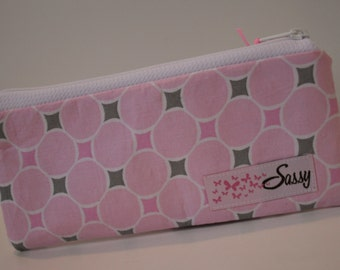 Pink and Grey Circle Fabric Make-up Bag, Small Size Cosmetic Bag, Travel Makeup Bag