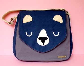 Bear Handbag, Bear Tote Bag, Bear Bag, Bear Shoulder Bag, Bear Carryall, Fabric Canvas Bag, Honey Bear Handbag (DUSTY BLUE GRAY color)