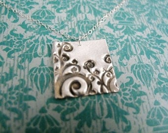 growth necklace - vine necklace - sterling silver nature necklace - growing jewelry - swirl necklace - swirl charm - sterling silver swirl